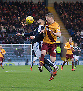 Motherwell&rsquo;s Ben Hall and Dundee&rsquo;s Kane Hemmings battle in the air - Dundee v Motherwell, Ladbrokes Premiership at Dens Park <br /> <br />  - &copy; David Young - www.davidyoungphoto.co.uk - email: davidyoungphoto@gmail.com