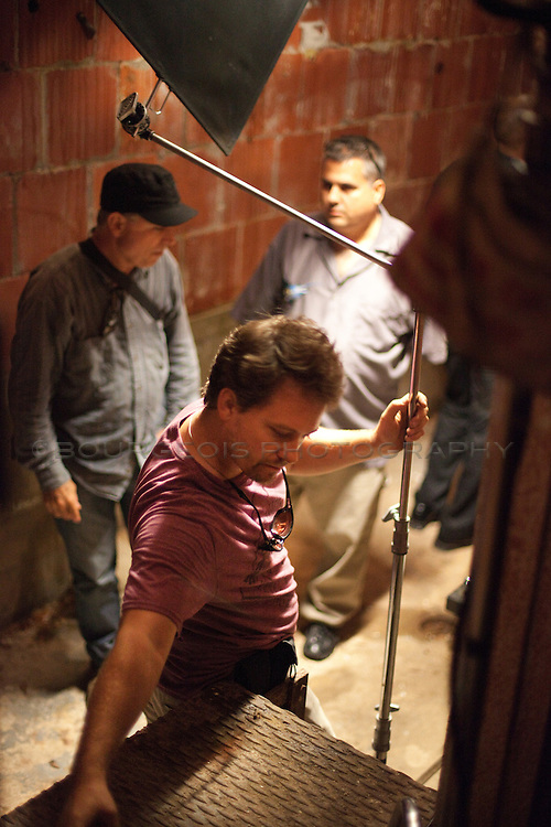 Gaffer Andrew Whitman on Blunt Force set with Daniel Zirilli and David West.