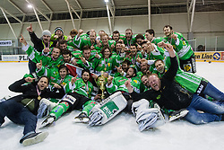 Players of EHC Bregenzerwald celebrate with trophy for first place during 5th game of final INL league ice hockey match between HK Playboy Slavija and EHC Bregenwald at Dvorana Zalog, on April 3, 2013, in Ljubljana, Slovenia. (Photo by Matic Klansek Velej / Sportida)