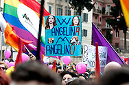 A placard reading : W Angelina ( Angelina Jolie), Down with Angelino (Angelino Alfano, Minister of the Interior).<br /> Rally in central Rome of LGBT associations, for call for more rights for homosexual couples, the protest  after approval of the bill on civil union  which was approved recently by  the Italian Senate. Rome, Italy 5th March 2016