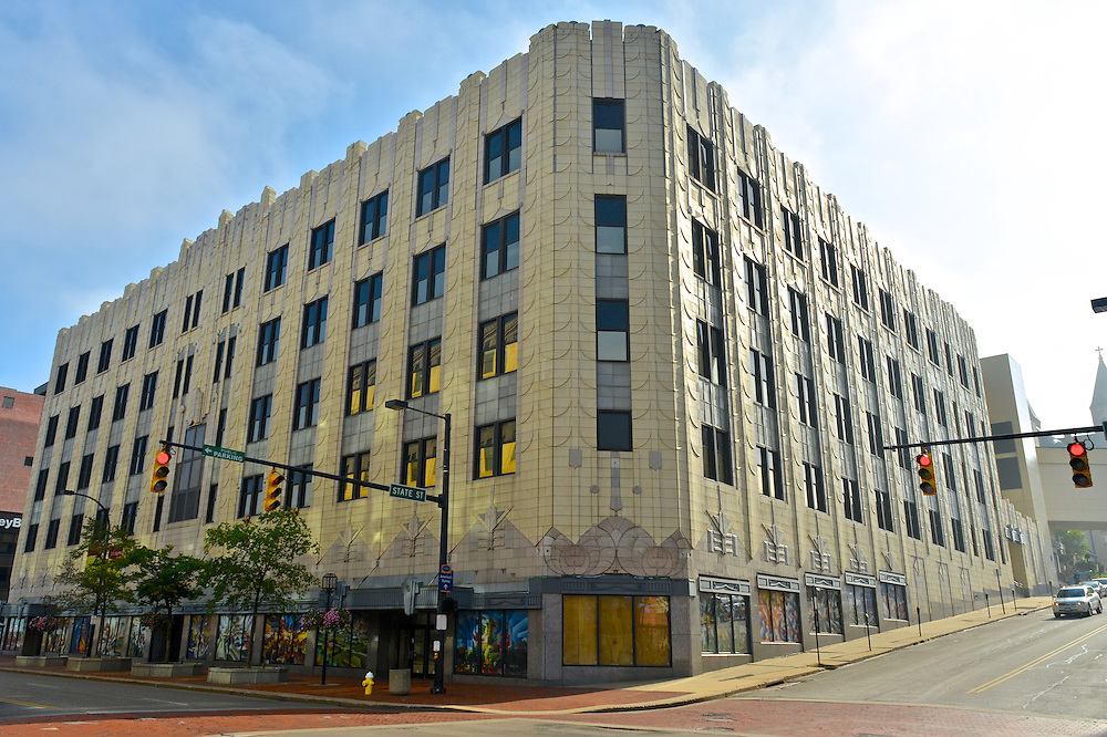 The University of Akron Polsky Building, at the corner of E State St. and S Main St.