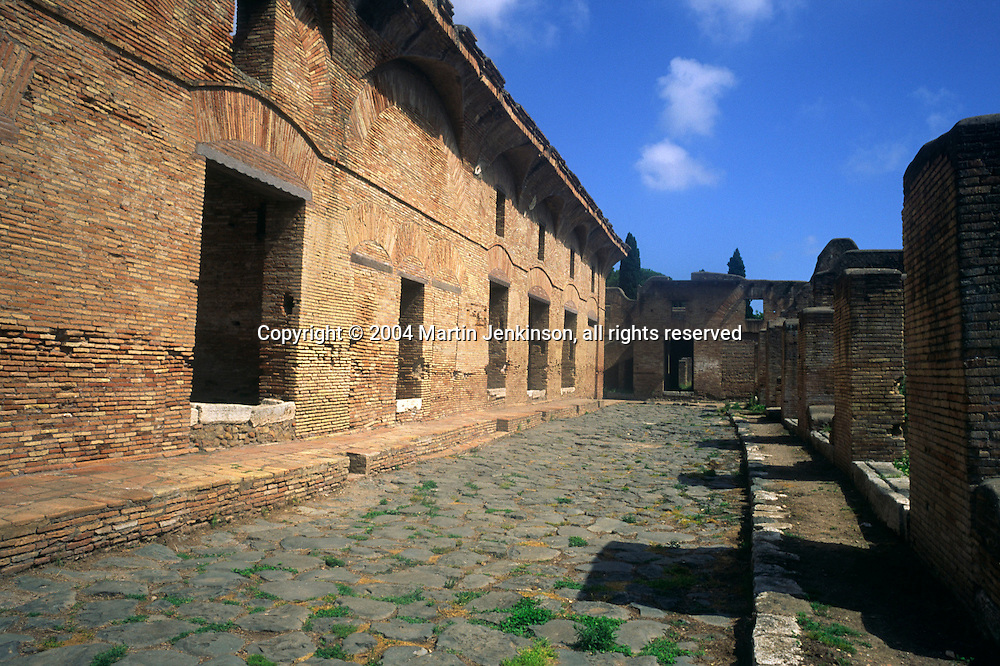 Street in the City of Ostia, Rome's ancient harbour....., Travel, lifestyle