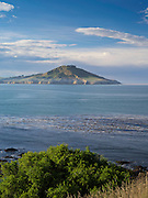 View of Waikouaiti Harbor and the Cornish Head at Karitane, Otago, New Zealand.