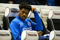 Chuba Akpom of Brighton & Hove Albion sits on the bench before the match - Mandatory by-line: Jason Brown/JMP - 10/03/2017 - FOOTBALL - Amex Stadium - Brighton, England - Brighton and Hove Albion v Derby County - Sky Bet Championship
