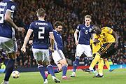 Belgium forward Romelu Lukaku (9) (Inter Milan) shoots on goal during the UEFA European 2020 Qualifier match between Scotland and Belgium at Hampden Park, Glasgow, United Kingdom on 9 September 2019.