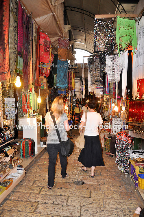 Israel, Jerusalem, Old City, Shoppers in Market Alley
