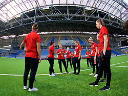 ASTANA, KAZAKHSTAN - Sunday, September 17, 2017: Wales players inspect the artificial pitch ahead of the FIFA Women's World Cup 2019 Qualifying Round Group 1 match between Kazakhstan and Wales at the Astana Arena. (Pic by David Rawcliffe/Propaganda)