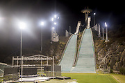 Alpensia Ski Jumping Centre, Oct 30, 2017 : Alpensia Ski Jumping Centre in Alpensia Olympic Park of the 2018 PyeongChang Winter Olympics is seen in PyeongChang, east of Seoul, South Korea. The 23rd Winter Olympics will be held for 17 days from February 9 - 25, 2018. The opening and closing ceremonies and most snow sports will take place in PyeongChang county. Jeongseon county will host Alpine speed events and ice sports will be held in the coast city of Gangneung. Photo by Lee Jae-Won (SOUTH KOREA) www.leejaewonpix.com