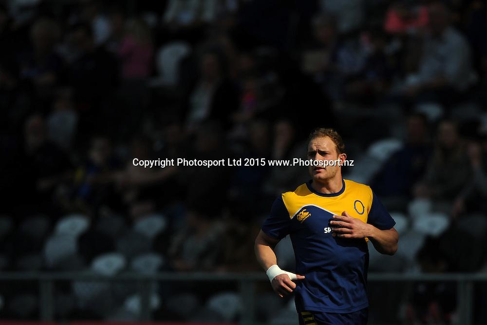 Matt Faddes of Otago warms up, prior to the ITM Cup match between Otago and Bay of Plenty, Forsyth Barr Stadium, Dunedin, New Zealand, 11 October 2015. Credit: Joe Allison / www.Photosport.nz