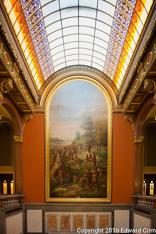 Barrel vault skylight above the grand stair of the Illinois Capitol, illuminating a painting purporting to depict George Rogers Clark's Treaty With Indians at Fort Kaskaskia in 1778.
