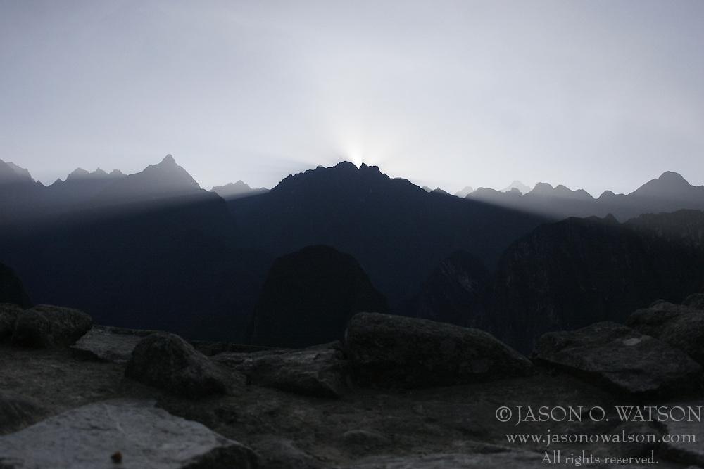 Sunrise over the mountains facing Machu Picchu, Peru<br />