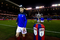 Joe Lolley of Nottingham Forest walks past The Brian Clough Trophy on a Sky Bet plinth at The City ground ahead of Nottingham Forest v Derby County - Mandatory by-line: Robbie Stephenson/JMP - 25/02/2019 - FOOTBALL - The City Ground - Nottingham, England - Nottingham Forest v Derby County - Sky Bet Championship