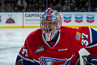 KELOWNA, CANADA - MARCH 3: Dawson Weatherill #37 of the Spokane Chiefs skates for the bench on a penalty call against the Kelowna Rockets  on March 3, 2018 at Prospera Place in Kelowna, British Columbia, Canada.  (Photo by Marissa Baecker/Shoot the Breeze)  *** Local Caption ***