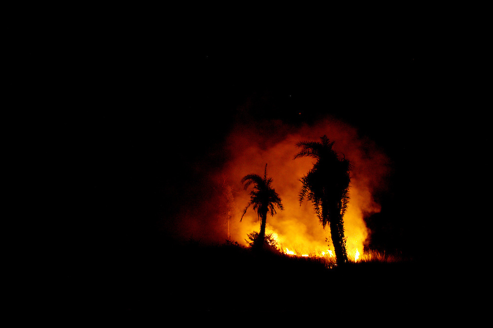 Slash and burn. Nighttime. Uttar Pradesh..?The caste system in India was abolished by law 60 years ago, but is still deeply rooted in society where it is difficult but not impossible to move to a socially better place.?.Photo by: Eivind H. Natvig/MOMENT