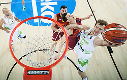 Vlado Ilievski of Macedonia vs Zoran Dragic of Slovenia during basketball match between Slovenia and Macedonia at Day 6 in Group C of FIBA Europe Eurobasket 2015, on September 10, 2015, in Arena Zagreb, Croatia. Photo by Vid Ponikvar / Sportida
