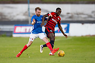 Dundee&rsquo;s Glen Kamara holds off Cowdenbeath's Harvey Swann - Cowdenbeath v Dundee in the Betfred Cup at Central Park, Cowdenbeath - Picture by David Young<br /> <br />  - &copy; David Young - www.davidyoungphoto.co.uk - email: davidyoungphoto@gmail.com