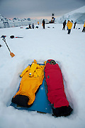 Camping in the snow  on a small island in Leith Cove, Paradise Harbor, Antarctica Peninsula.