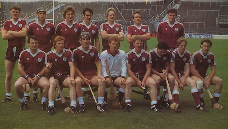 All Ireland Senior Hurling Championship Final,.Galway Vs Offaly,Offaly 2-11, Galway 1-12,.01.09.1985, 09.01.1985, 1st September 1985,.01091985AISHCF,.Galway Team. back row, Peter Finnerty, Steve Mahon, Noel Lane, Brendan Lynskey, Tony Keady, Tony Kilkenny, Conor Hayes, front row, PJ Molloy, Bernie Ford, Michael Connolly captain, Peter Murphy, Sylvie Linnane, Anthony Cunningham, Joe Cooney, Seamus Coen, .