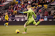 Sweden goalie Hedvig Lindahl (1) kicks the ball downfield during an international friendly women's soccer match against the Untied States, Thursday, Nov. 7, 2019, in Columbus, Ohio. USA defeated Sweden 3-2 . (Jason Whitman/Image of Sport)