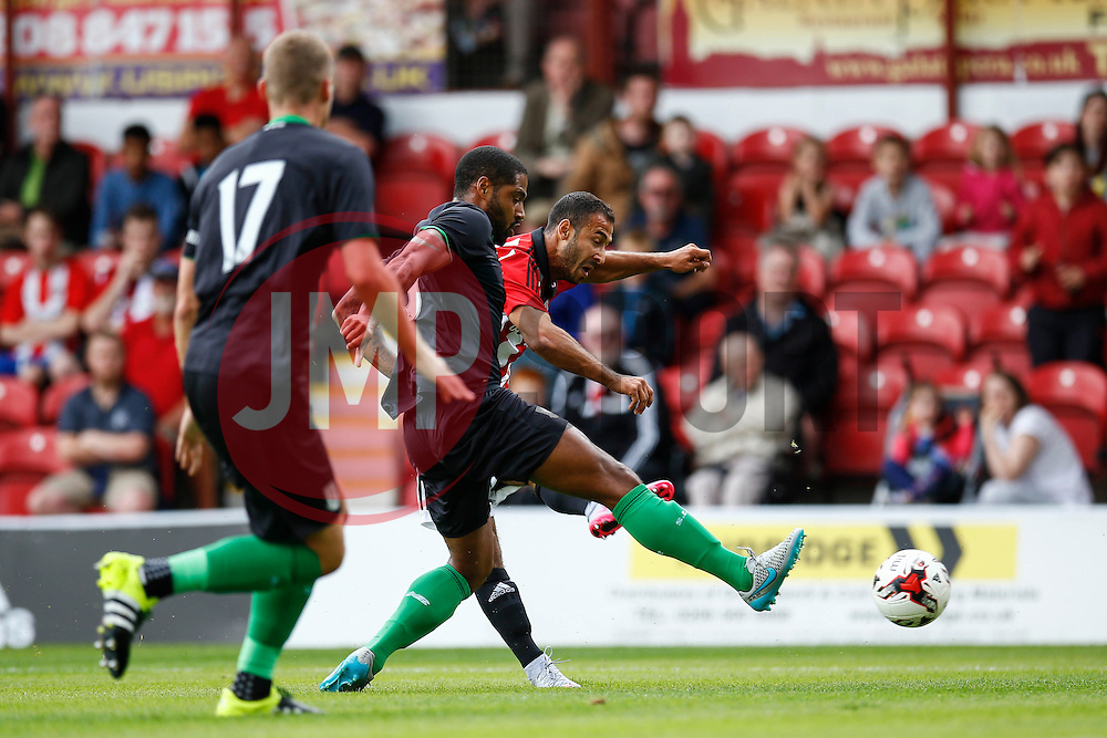 Andy Gogia of Brentford takes an early shot - Mandatory by-line: Jason Brown/JMP - Mobile 07966 386802 25/07/2015 - SPORT - FOOTBALL - Brentford, Griffin Park - Brentford v Stoke City - Pre-Season Friendly
