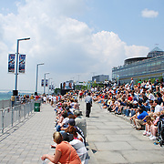 Sold-out crowd watches the 1st ever Red Bull Air Race Detroit from the banks of the Detroit River.