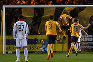 Tom Elliott of Cambridge (10) United scores the opening goal during the Skrill Conference Premier match at the Abbey Stadium, Cambridge<br /> Picture by David Horn/Focus Images Ltd +44 7545 970036<br /> 11/03/2014