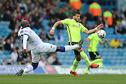 Leeds United defender Sam Byram (2) and Brighton striker, Tomer Hemed (10)  during the Sky Bet Championship match between Leeds United and Brighton and Hove Albion at Elland Road, Leeds, England on 17 October 2015.