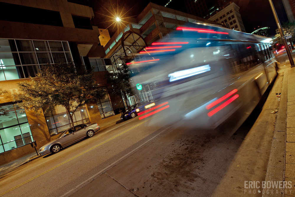 Bus motion blur at 10th and Main Transit Center, downtown Kansas City, MO.
