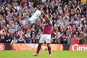 Aston Villa striker Gabriel Agbonlahor (11) scores a goal and celebrates during the EFL Sky Bet Championship match between Aston Villa and Hull City at Villa Park, Birmingham, England on 5 August 2017. Photo by Dennis Goodwin.