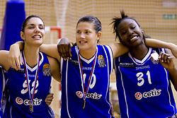 Ivona Matic, Kristina Verbole and Nikya Hughes of Celje celebrate at finals match of Slovenian 1st Women league between KK Hit Kranjska Gora and ZKK Merkur Celje, on May 14, 2009, in Arena Vitranc, Kranjska Gora, Slovenia. Merkur Celje won the third time and became Slovenian National Champion. (Photo by Vid Ponikvar / Sportida)