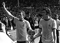 Fotball<br /> England <br /> Foto: Colorsport/Digitalsport<br /> NORWAY ONLY<br /> <br /> Ray Kennedy and John Radford (Arsenal) celebrate winning the F.A Cup. Arsenal v Liverpool F.A Cup Final 1971.