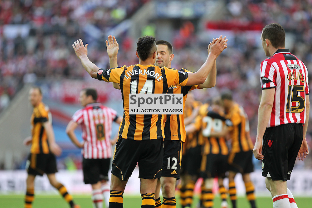 Hull City's Jake Livermore and Hull City's Matthew Fryatt celebrate Hull's 4th goal during the FA Cup Semi Final between Sheffield United FC and Hull City FC at Wembley Stadium, London, 13th April 2014 © Phil Duncan | SportPix.org.uk
