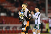 Barnsley goalkeeper Jack Walton (30) applauds the Barnsley supporters during the EFL Sky Bet Championship match between Nottingham Forest and Barnsley at the City Ground, Nottingham, England on 24 April 2018. Picture by Jon Hobley.