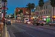 Hollywood, Boulevard, Stars, Walk of Fame,  Dusk, Blue Sky, Twilight,Los Angeles, Ca,  entertainment, tourist, attractions