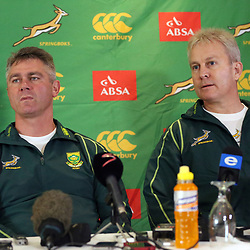 DURBAN, SOUTH AFRICA - JUNE 05: Springbok coach Heyneke Meyer with Ian Schwartz Team Manager during the Springboks team announcement at Kashmir Restaurant on June 05, 2013 in Durban, South Africa. (Photo by Steve Haag/Gallo Images)