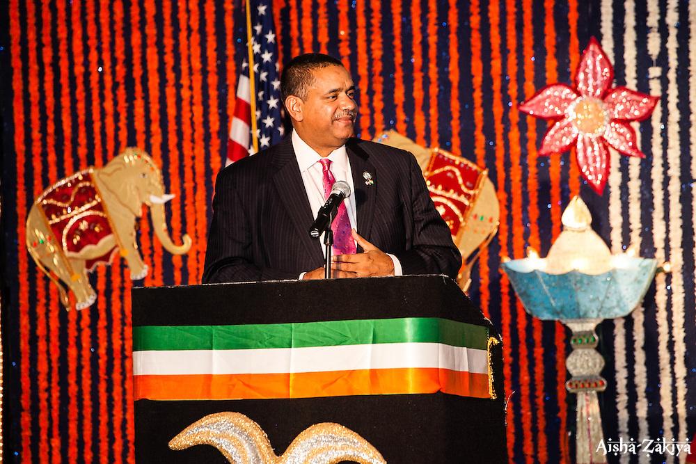 Governor John P. De Jongh, Jr. gives his remarks.  The India Association of the Virgin Islands 66th Independence Day Celebration. Friday September 7, 2012. Marriott's Frenchman's Reef Resort.  © Aisha-Zakiya Boyd