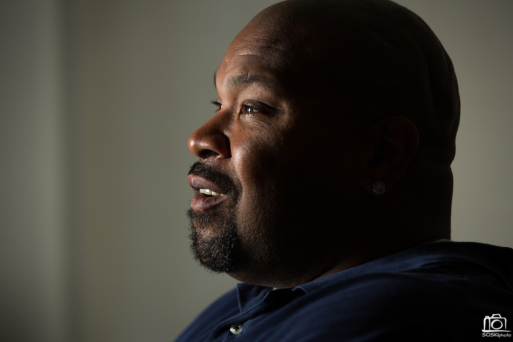 Former Dallas Cowboys guard Larry Allen, Jr. poses for a portrait at his home in Danville, California, on June 27, 2013.  Allen will be inducted into the NFL Hall of Fame during the Enshrinement Ceremony at Fawcett Stadium in Canton, Ohio, on August 2, 2013. (Stan Olszewski for Fort Worth Star-Telegram)