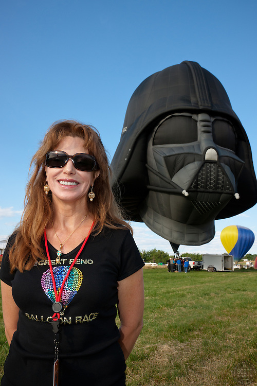 """Ingrid Drummer and the Darth Vader Balloon"" - Photograph of the 2011 Great Reno Balloon Race Vice President and the Darth Vader hot air balloon."