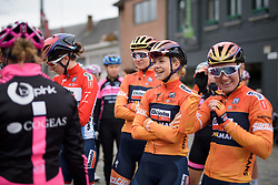 Jip van den Bos having fun as Boels Dolmans wait to sign in at Pajot Hills Classic 2017. A 121 km road race on March 29th 2017 in Gooik, Belgium. (Photo by Sean Robinson/Velofocus)