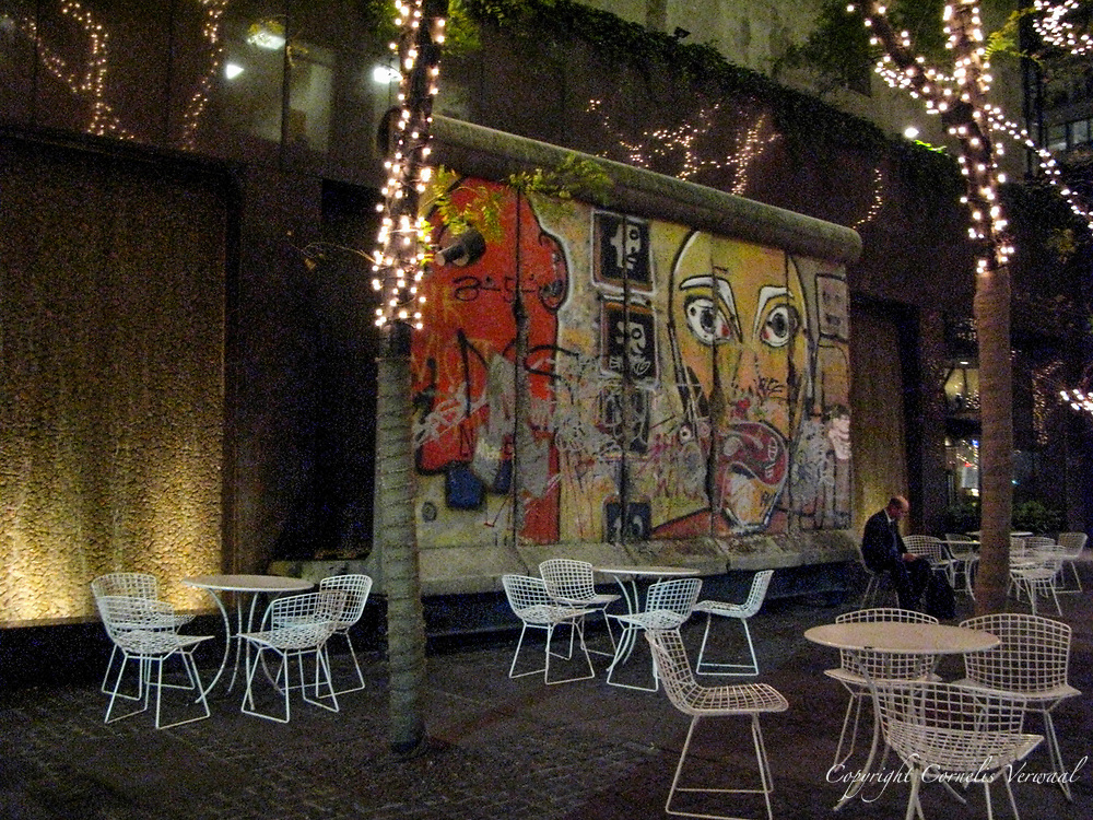 Night time at a section of the Berlin Wall on East 53rd street, New York, 2007.