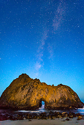 """""""Keyhole Arch, Pfeiffer Beach at Night 1"""" - Photograph of the Milky Way above the Keyhole Arch at Pfeiffer Beach in Big Sur, California."""