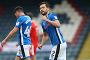 GOAL Joe Rafferty celebrates during the EFL Sky Bet League 1 match between Rochdale and Gillingham at Spotland, Rochdale, England on 23 September 2017. Photo by Daniel Youngs.