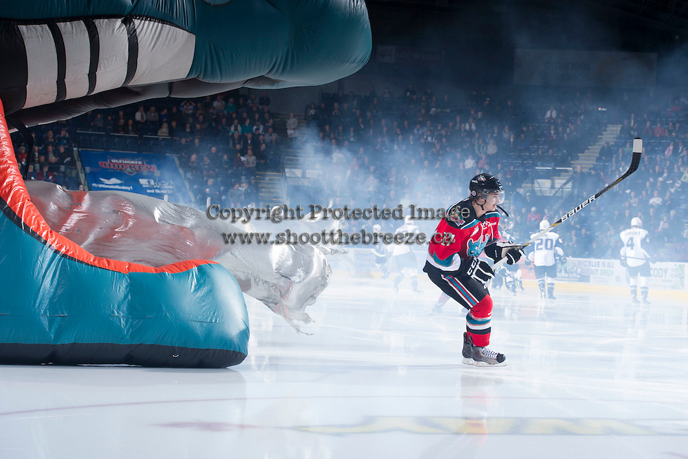 KELOWNA, CANADA - DECEMBER 5:  JT Barnett #17 of the Kelowna Rockets enters the ice against the Swift Current Broncos at the Kelowna Rockets on December 5, 2012 at Prospera Place in Kelowna, British Columbia, Canada (Photo by Marissa Baecker/Shoot the Breeze) *** Local Caption *** JT Barnett;