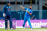 India ODI bowler Bhuvneshwar Kumar  in action  during the 3rd Royal London ODI match between England and India at Headingley Stadium, Headingley, United Kingdom on 17 July 2018. Picture by Simon Davies.