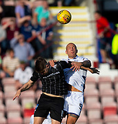 2nd Aug 2019, East End Park, Dunfermline, Fife, Scotland, Scottish Championship football, Dunfermline Athletic versus Dundee;  Kevin Nisbet of Dunfermline Athletic competes in the air with Jordon Forster of Dundee