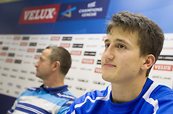 David Razgor of Celje during press conference after the handball match between RK Celje Pivovarna Lasko and IK Savehof (SWE) in 3rd Round of Group B of EHF Champions League 2012/13 on October 13, 2012 in Arena Zlatorog, Celje, Slovenia. (Photo By Vid Ponikvar / Sportida)