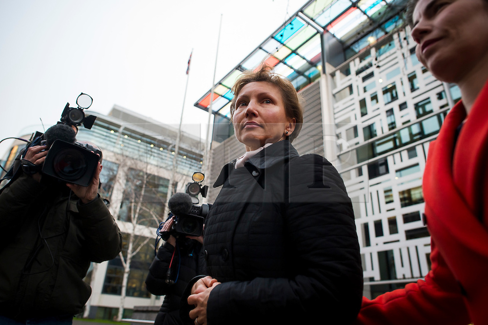 "©  London News Pictures. 28/01/2016. London, UK. MARINA LITVINENKO, wife of murdered Russian agent Alexander Litvinenko, leaving The Home Office in London following private talks with British home secretary Theresa May. The meeting comes a week after an official inquiry into her husband's death concluded that his killing was ""probably approved"" by Russian president Vladimir Putin. Photo credit: Ben Cawthra/LNP"