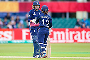 England womens cricket player Sarah Taylor (wk)  celebrates a boundary with part during the ICC Women's World Cup match between England and Pakistan at the Fischer County Ground, Grace Road, Leicester, United Kingdom on 27 June 2017. Photo by Simon Davies.