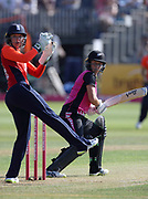 Sarah Taylor doesn't catch Sophie Devine in the first over of the international T20 between England Women and the White Ferns at the Brightside Ground, Bristol. Photo: Graham Morris/www.photosport.nz 28/06/18 NZ USE ONLY
