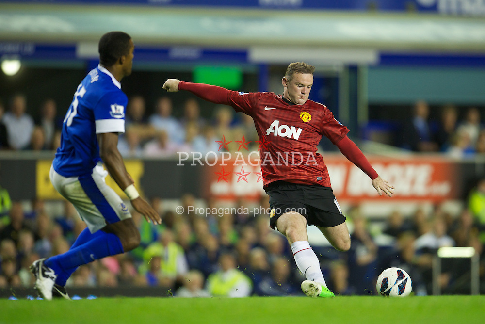 LIVERPOOL, ENGLAND - Monday, August 20, 2012: Manchester United's Wayne Rooney in action against Everton during the Premiership match at Goodison Park. (Pic by David Rawcliffe/Propaganda)
